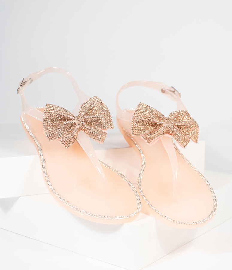 Blush Pink Jelly Rhinestone Bow Sandal