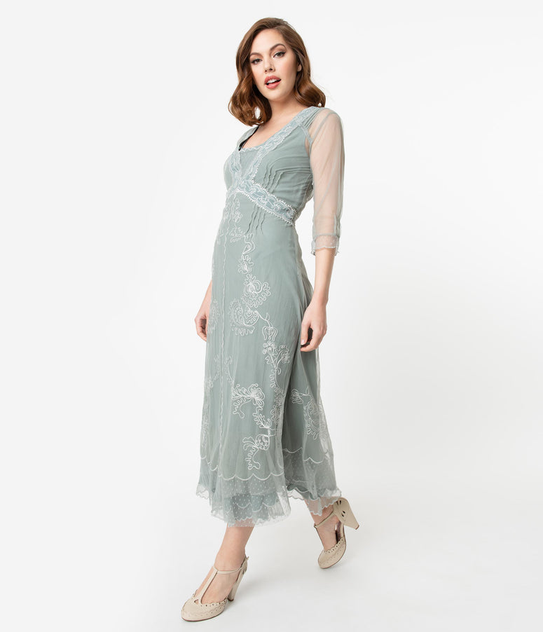 Vintage Style Aqua Mesh Embroidered Edwardian Dress