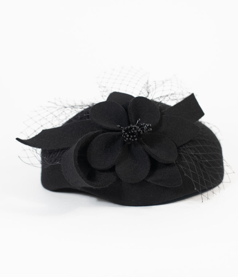 Vintage Style Black Wool Floral Pillbox Hat