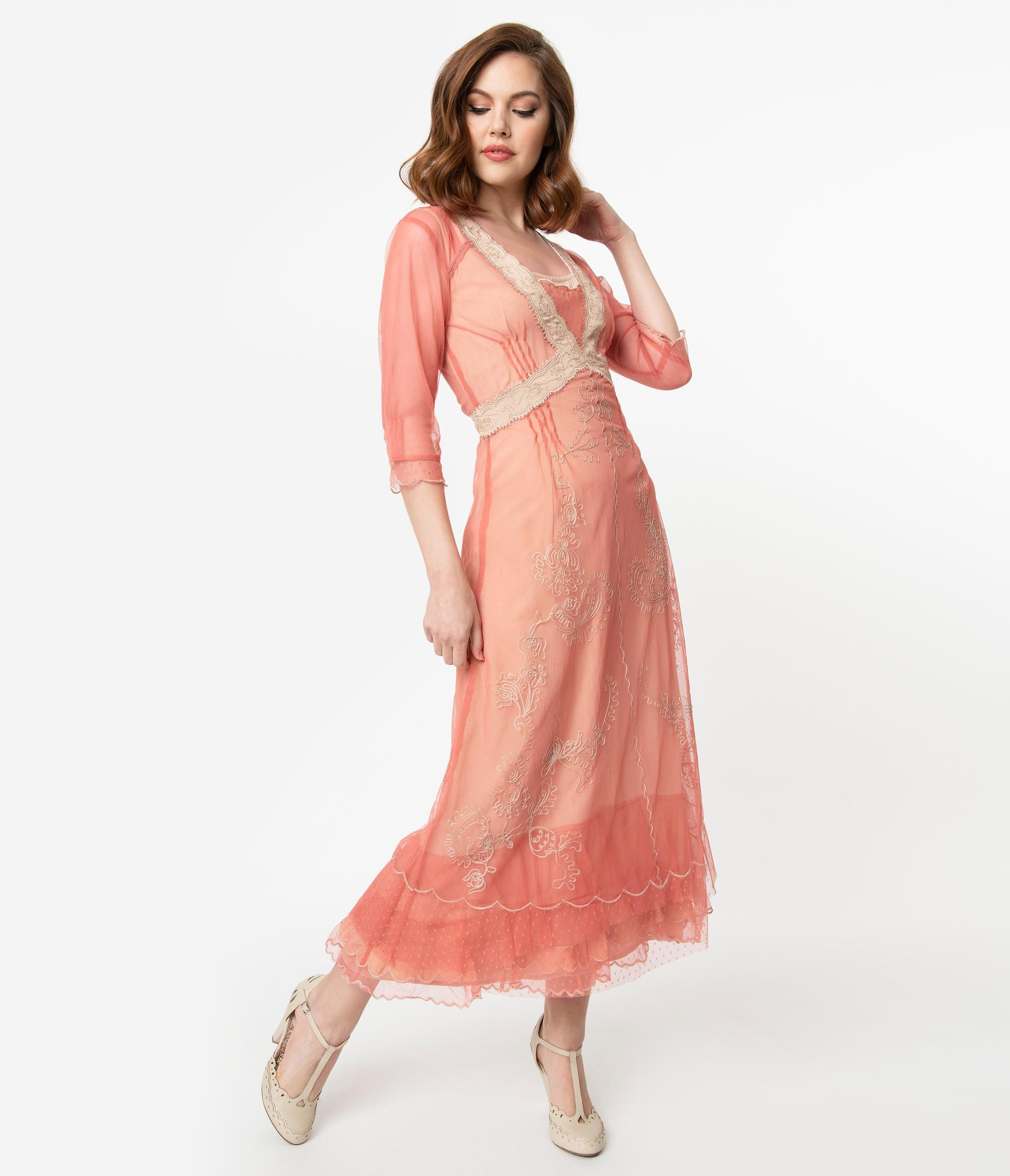 Old Fashioned Dresses | Old Dress Styles Vintage Style Rose Pink Mesh  Beige Embroidered Edwardian Flapper Dress $302.00 AT vintagedancer.com