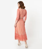 Vintage Style Rose Pink Mesh & Beige Embroidered Edwardian Dress