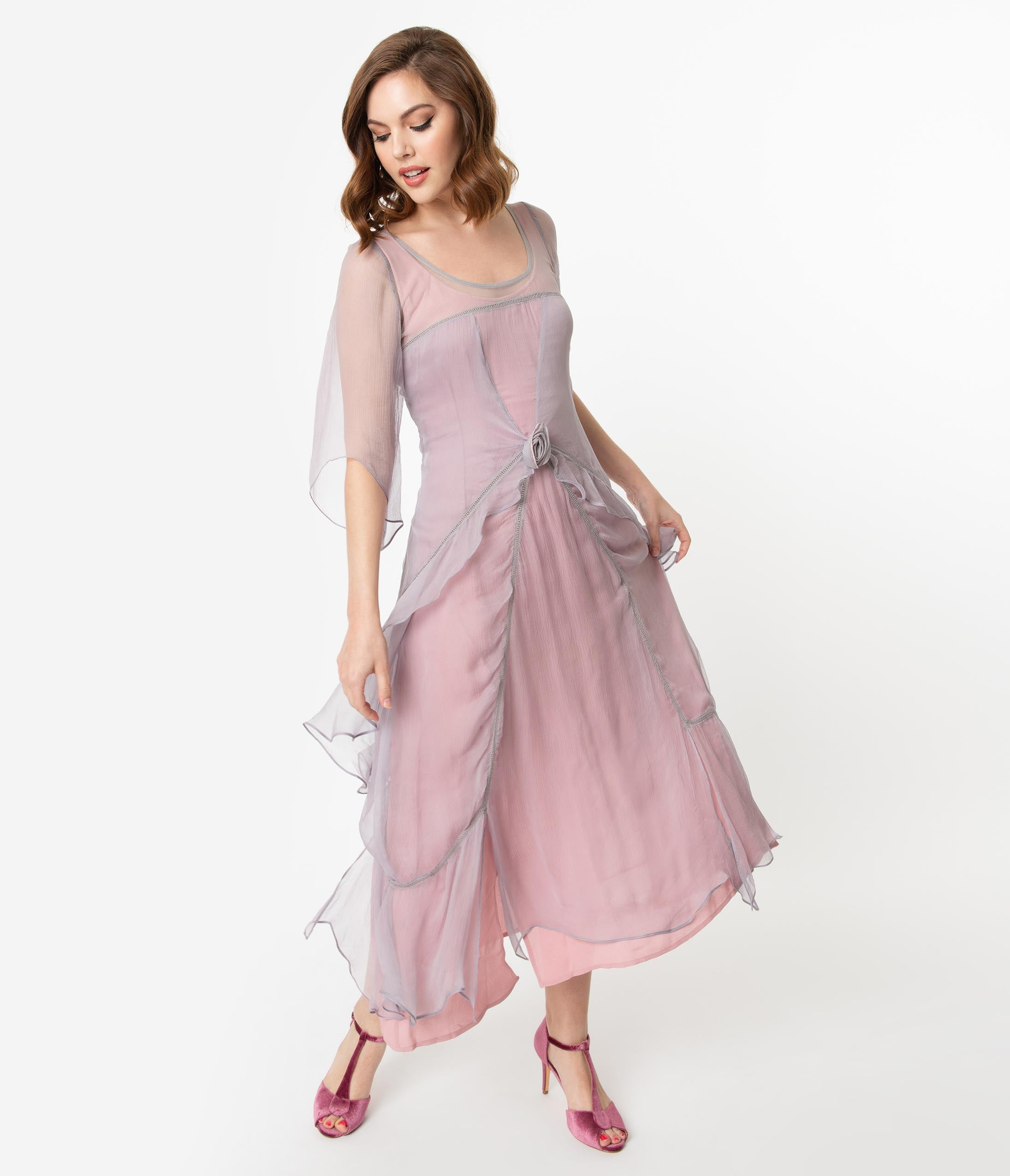 1920s Fashion & Clothing | Roaring 20s Attire Vintage Style Mauve  Pink Chiffon Sleeved Edwardian Flapper Dress $242.00 AT vintagedancer.com