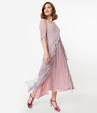 Vintage Style Mauve & Pink Chiffon Sleeved Edwardian Dress