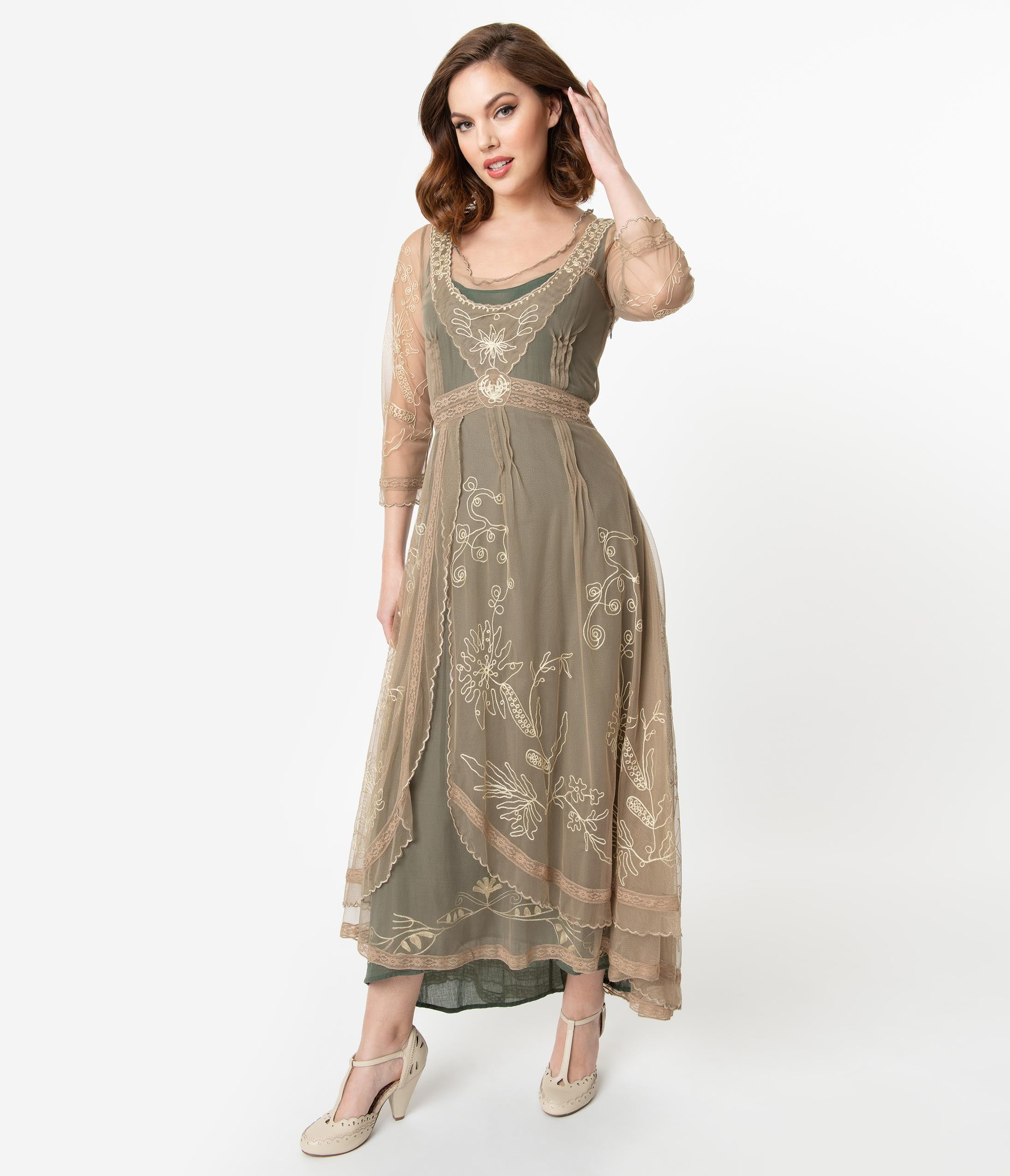 Titanic Fashion – 1st Class Women's Clothing Sage  Gold Embroidered Tulle Downton Abbey Edwardian Tea Party Flapper Dress $274.00 AT vintagedancer.com