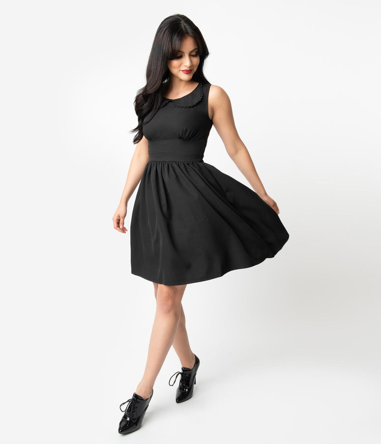 Sourpuss Blackest Black Sleeveless Fit & Flare Dress
