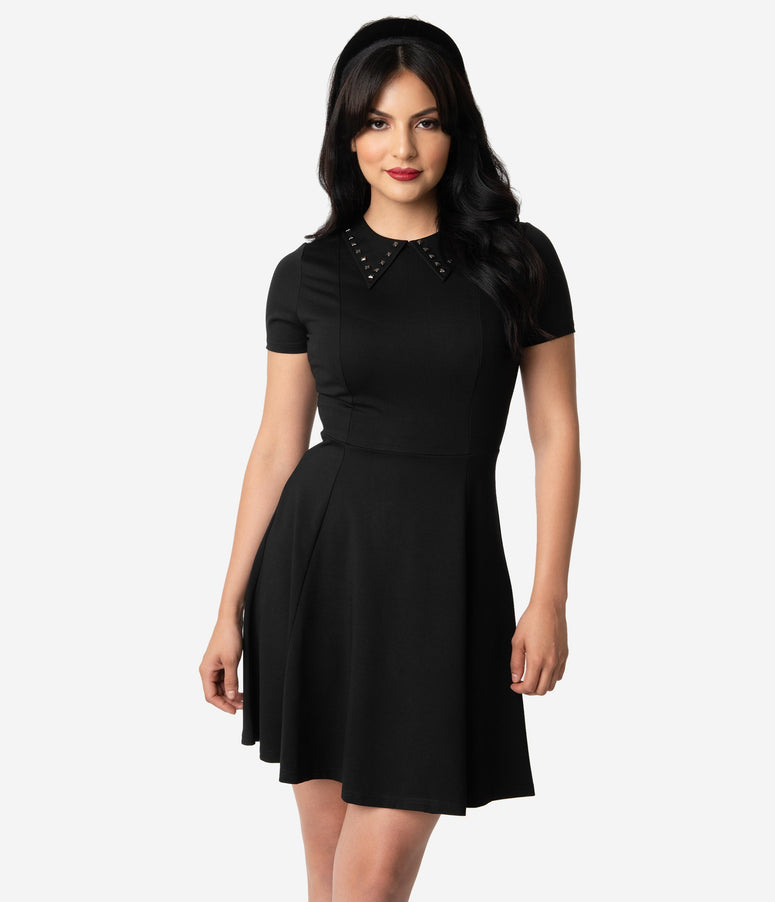 Sourpuss Black Knit Studded Collar Short Sleeve Fit & Flare Dress