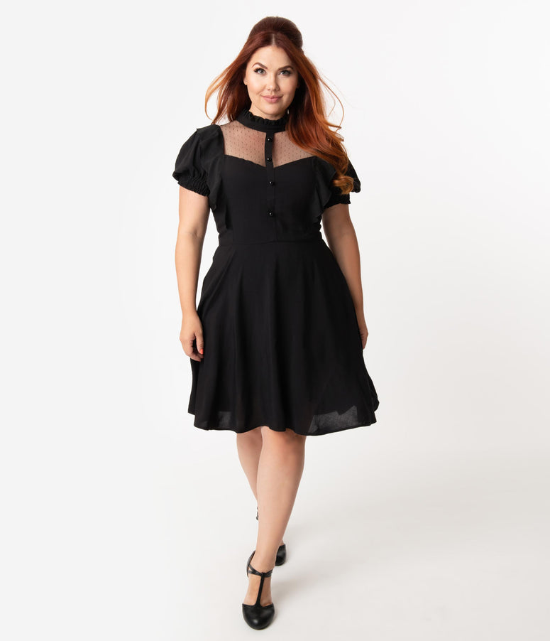 Hell Bunny Plus Size Black Ruffle High Neck Elana Fit & Flare Dress