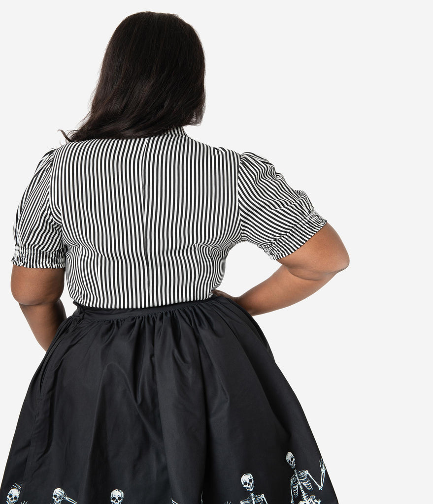 Hell Bunny Plus Size 1950s Black & White Stripe Button Up Humbug Blouse