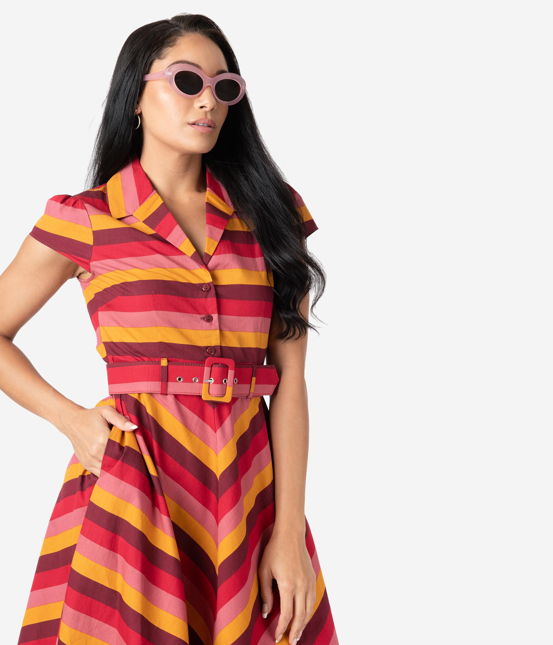 Fifties Dresses : 1950s Style Swing to Wiggle Dresses 1950S Style Multicolor Stripe Sweet Chili Cotton Swing Dress $88.00 AT vintagedancer.com