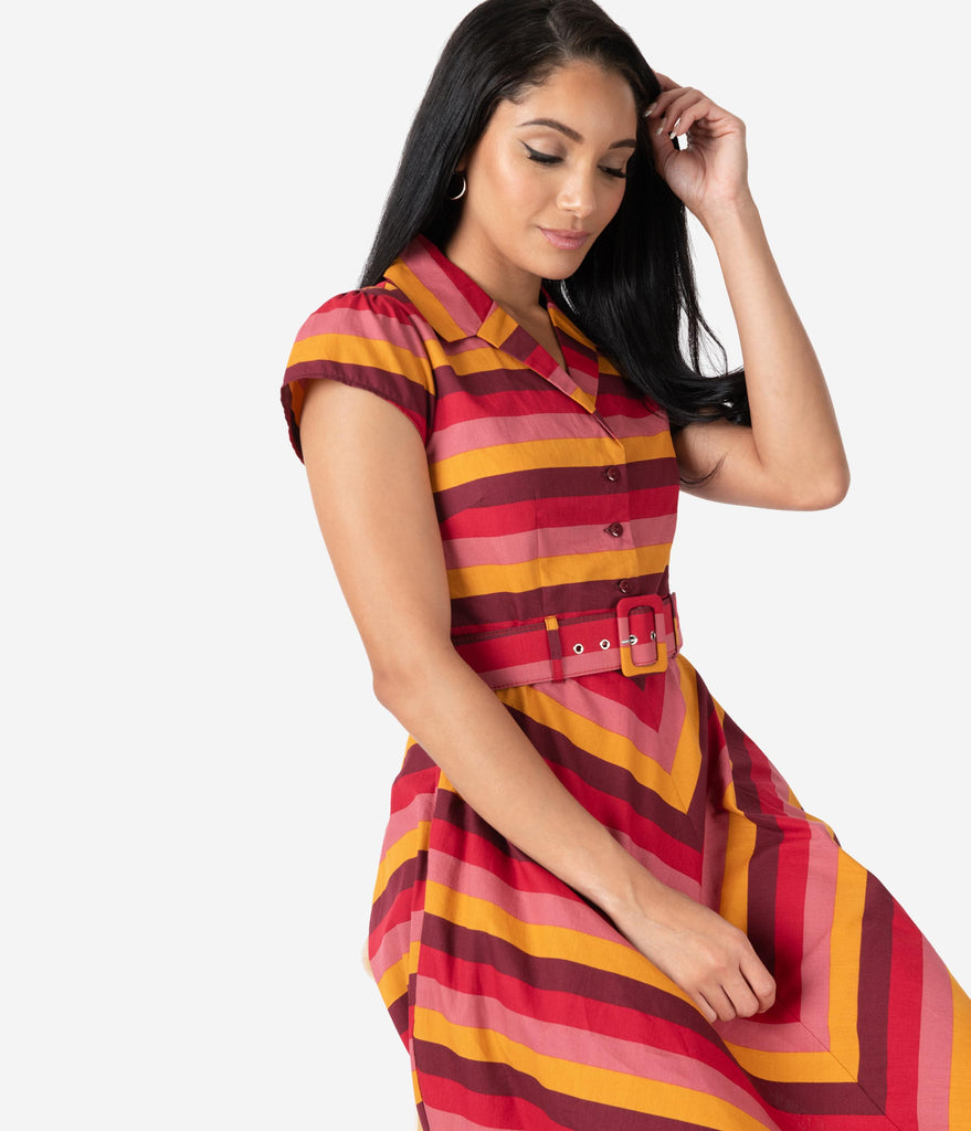 1950s Style Multicolor Stripe Sweet Chili Cotton Swing Dress