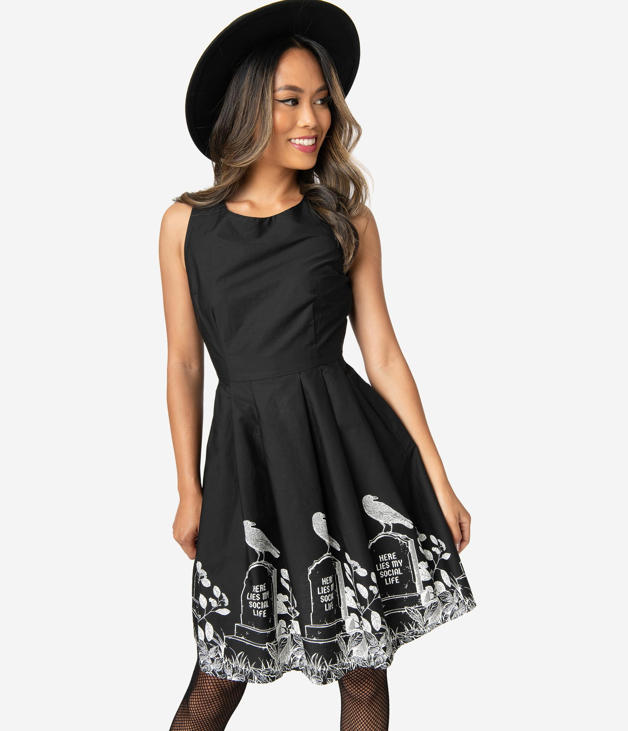 Vintage Retro Halloween Themed Clothing Black Cotton Afterlife Of The Party Sleeveless Fit  Flare Dress $88.00 AT vintagedancer.com