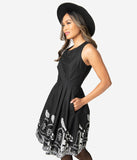 Black Cotton Afterlife Of The Party Sleeveless Fit & Flare Dress