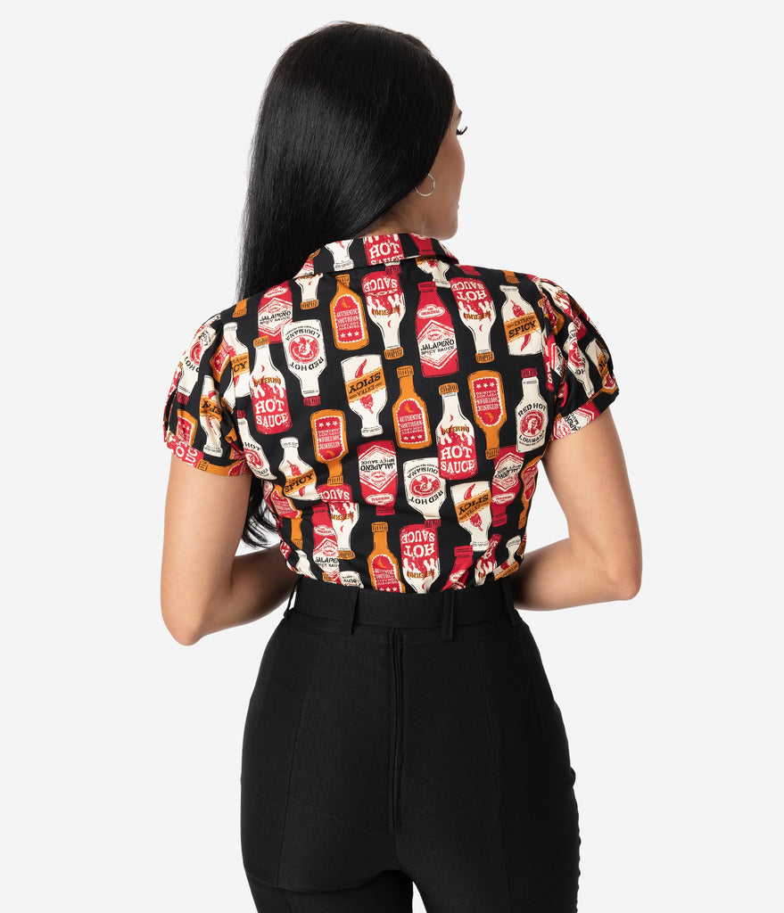 Retro Style Black & Red Hot Sauce Print Button Up Blouse