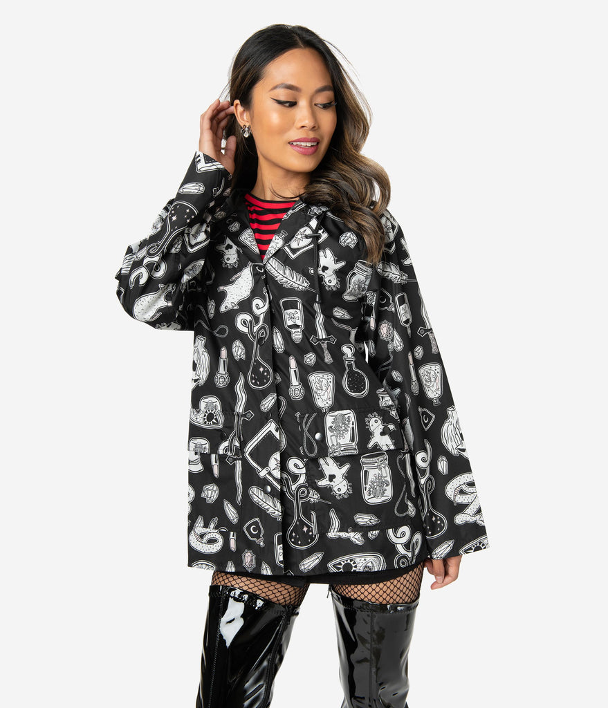Black & White Bewitched Print Long Sleeve Raincoat