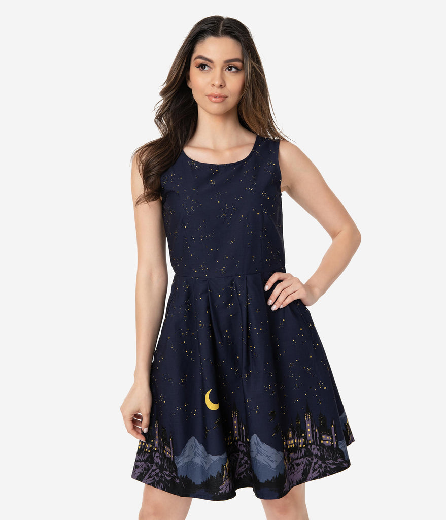 Midnight Blue I Solemnly Swear Sleeveless Cotton Fit & Flare Dress