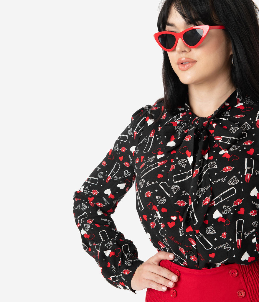 Hell Bunny Black Bisous Print Bow Tie Blouse