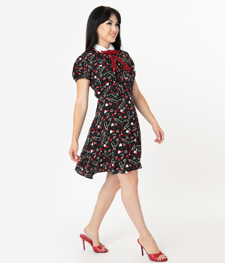 Hell Bunny Black Bisous Print Fit & Flare Dress