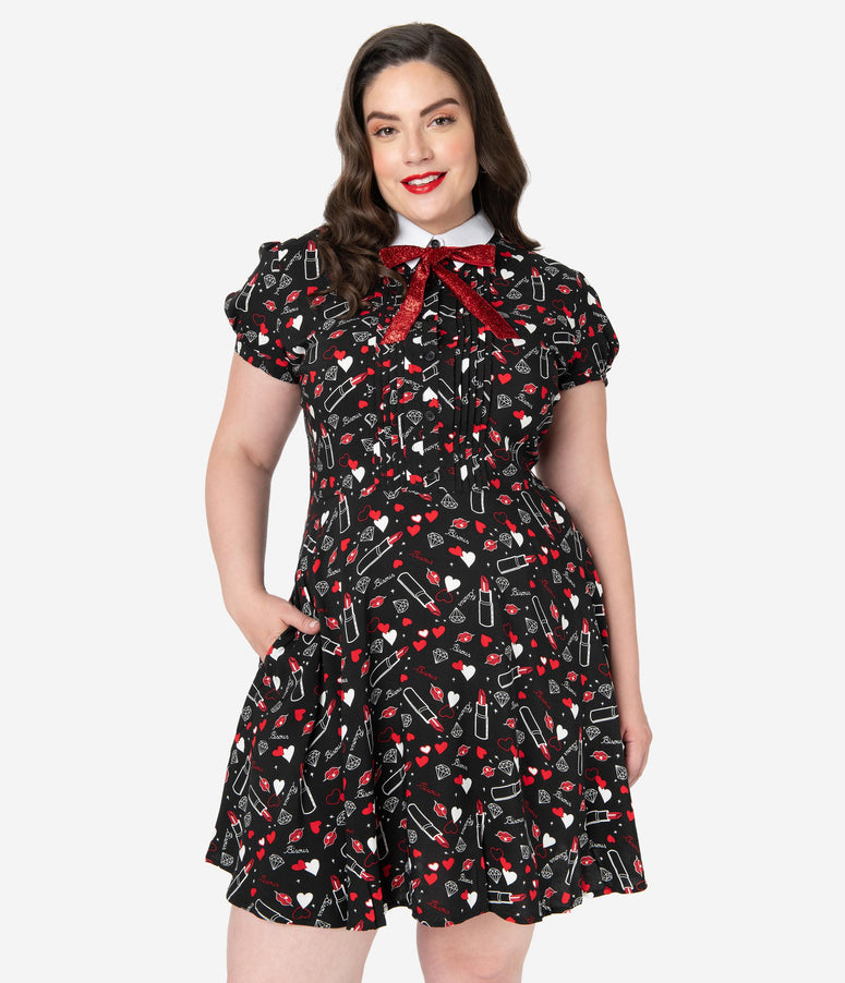 Hell Bunny Plus Size Black Bisous Print Fit & Flare Dress