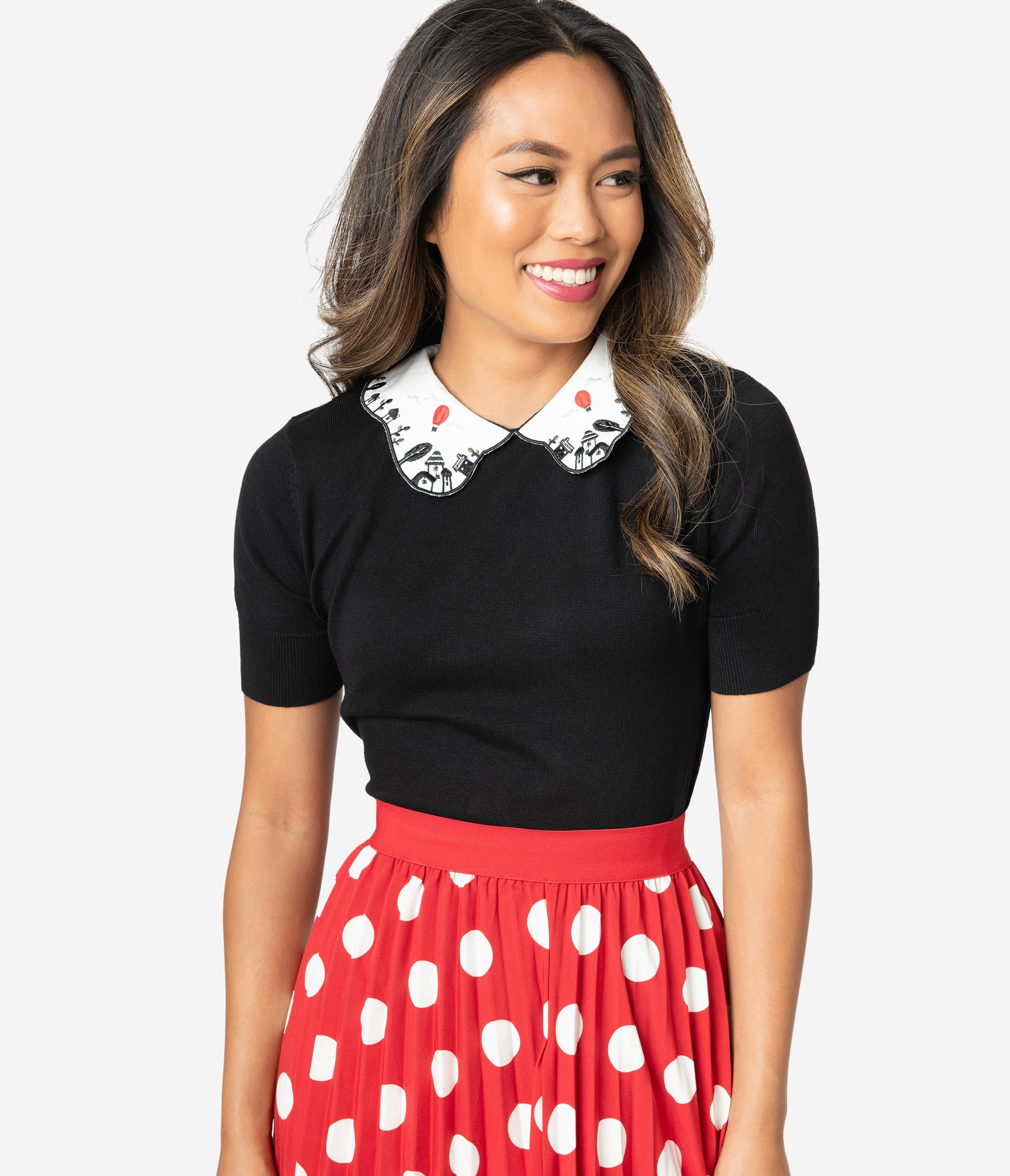 Easy Retro Halloween Costumes – Last Minute Ideas Hell Bunny Black  White Collar Embroidered Red Balloon Knit Sweater $58.00 AT vintagedancer.com