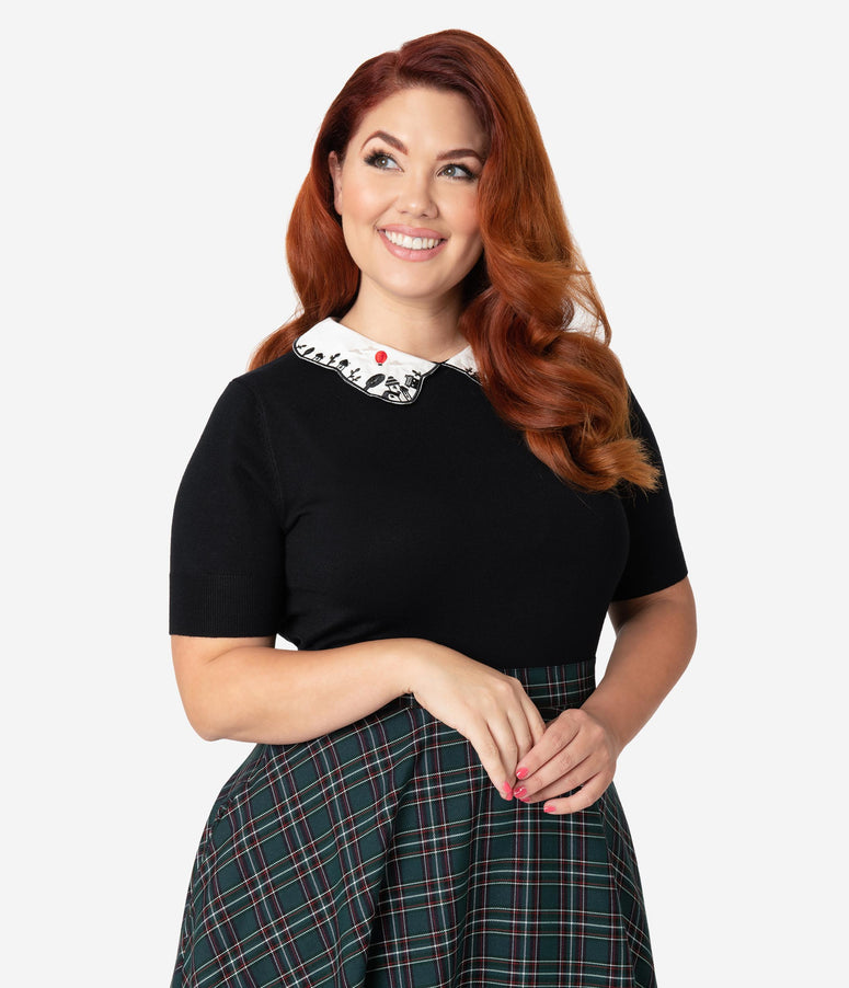 288e58396b8 Hell Bunny Plus Size Black & White Collar Embroidered Red Balloon Knit  Sweater