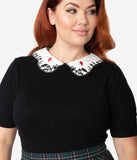 Hell Bunny Plus Size Black & White Collar Embroidered Red Balloon Knit Sweater