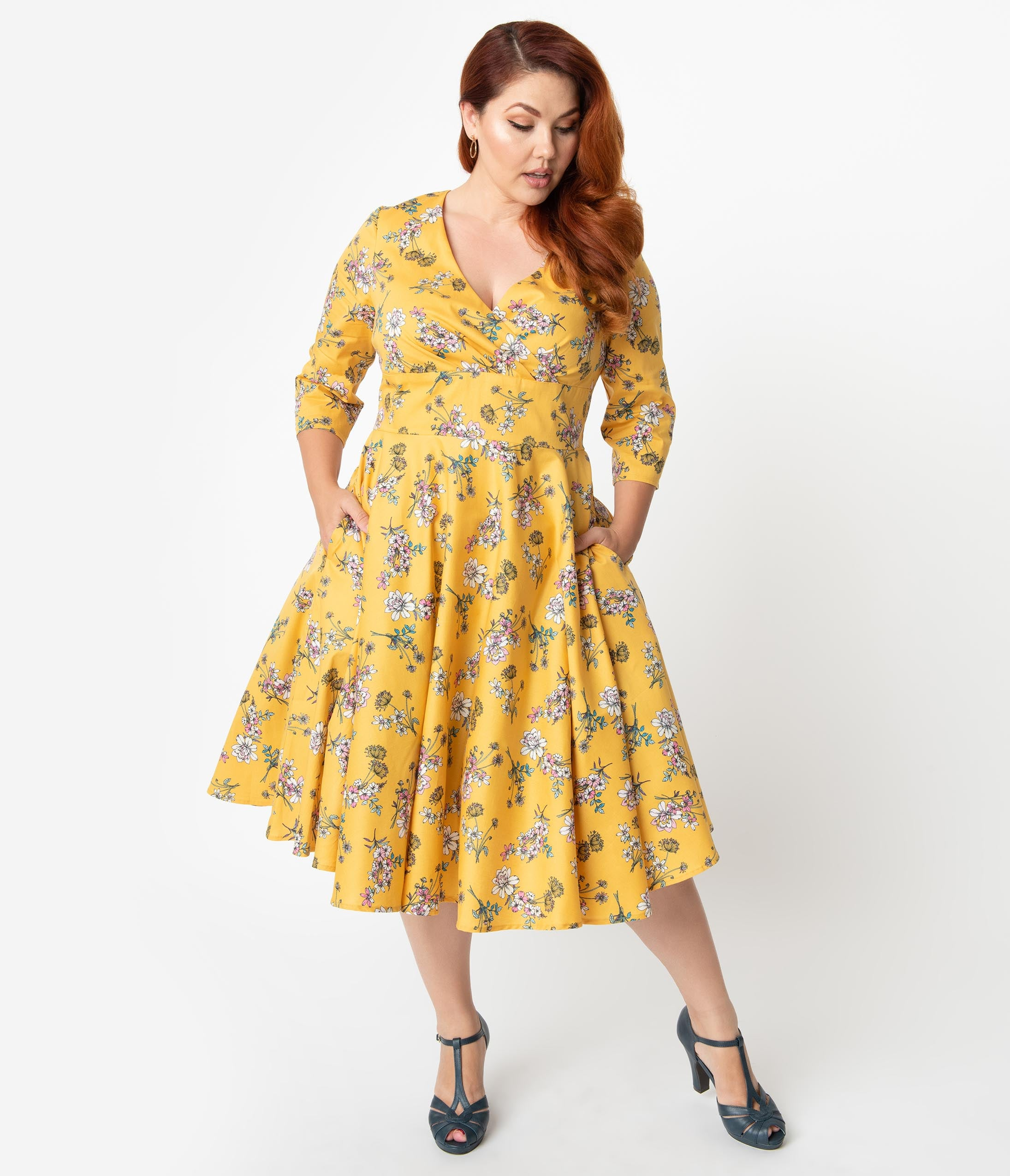 Plus Size Pin Up Dresses | Plus Size Rockabilly Dresses Hell Bunny Plus Size 1950S Style Mustard Yellow  Pink Floral Muriel Swing Dress $88.00 AT vintagedancer.com
