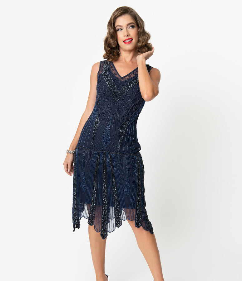 1920s Style Navy Blue Beaded Deco Sleeveless Renee Flapper Dress