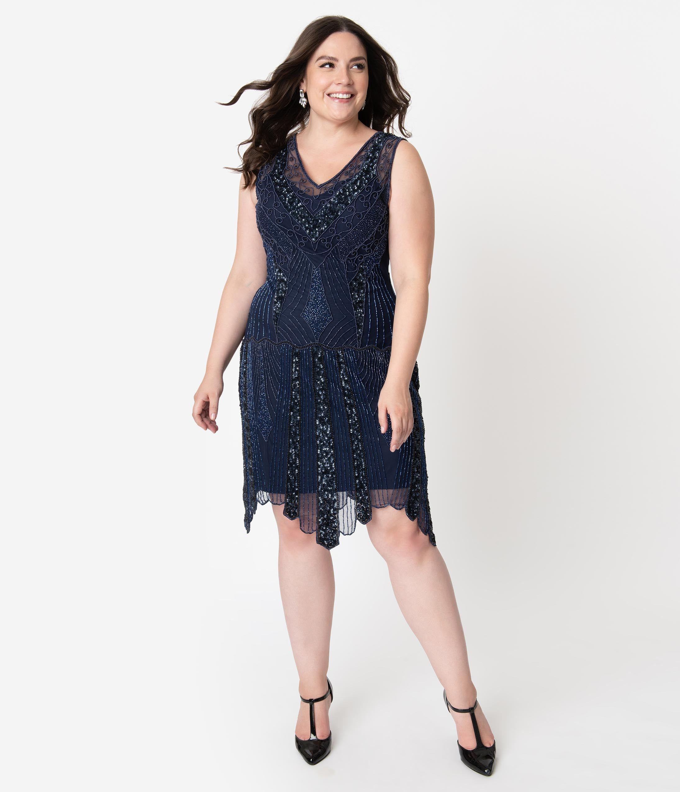 Plus Size Vintage Dresses, Plus Size Retro Dresses Plus Size 1920S Style Navy Blue Beaded Deco Sleeveless Renee Flapper Dress $178.00 AT vintagedancer.com