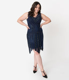 Plus Size 1920s Style Navy Blue Beaded Deco Sleeveless Renee Flapper Dress