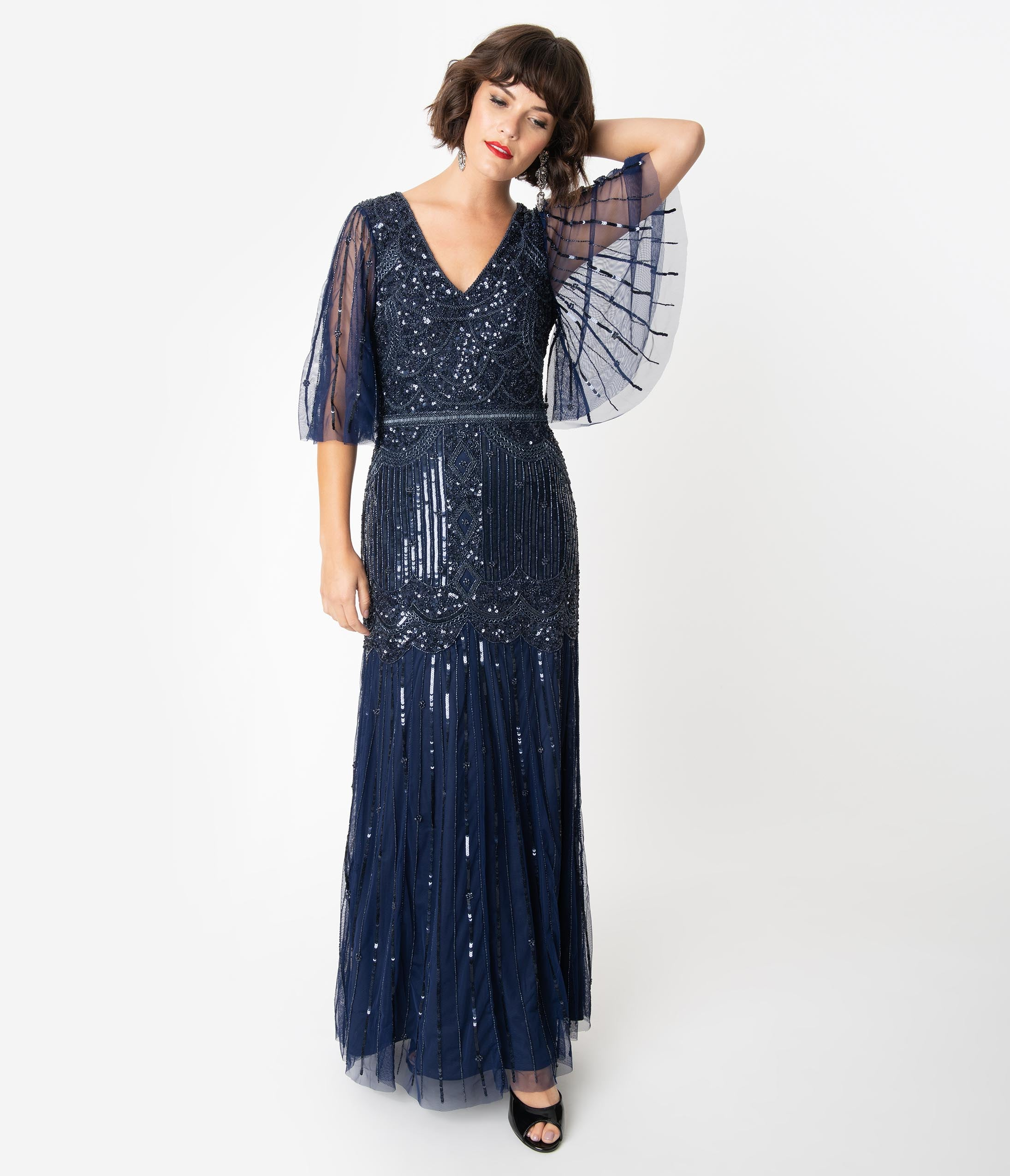 Best 1920s Prom Dresses – Great Gatsby Style Gowns Navy Blue Sequin  Beaded Angel Sleeve Bettina Long Flapper Dress $268.00 AT vintagedancer.com