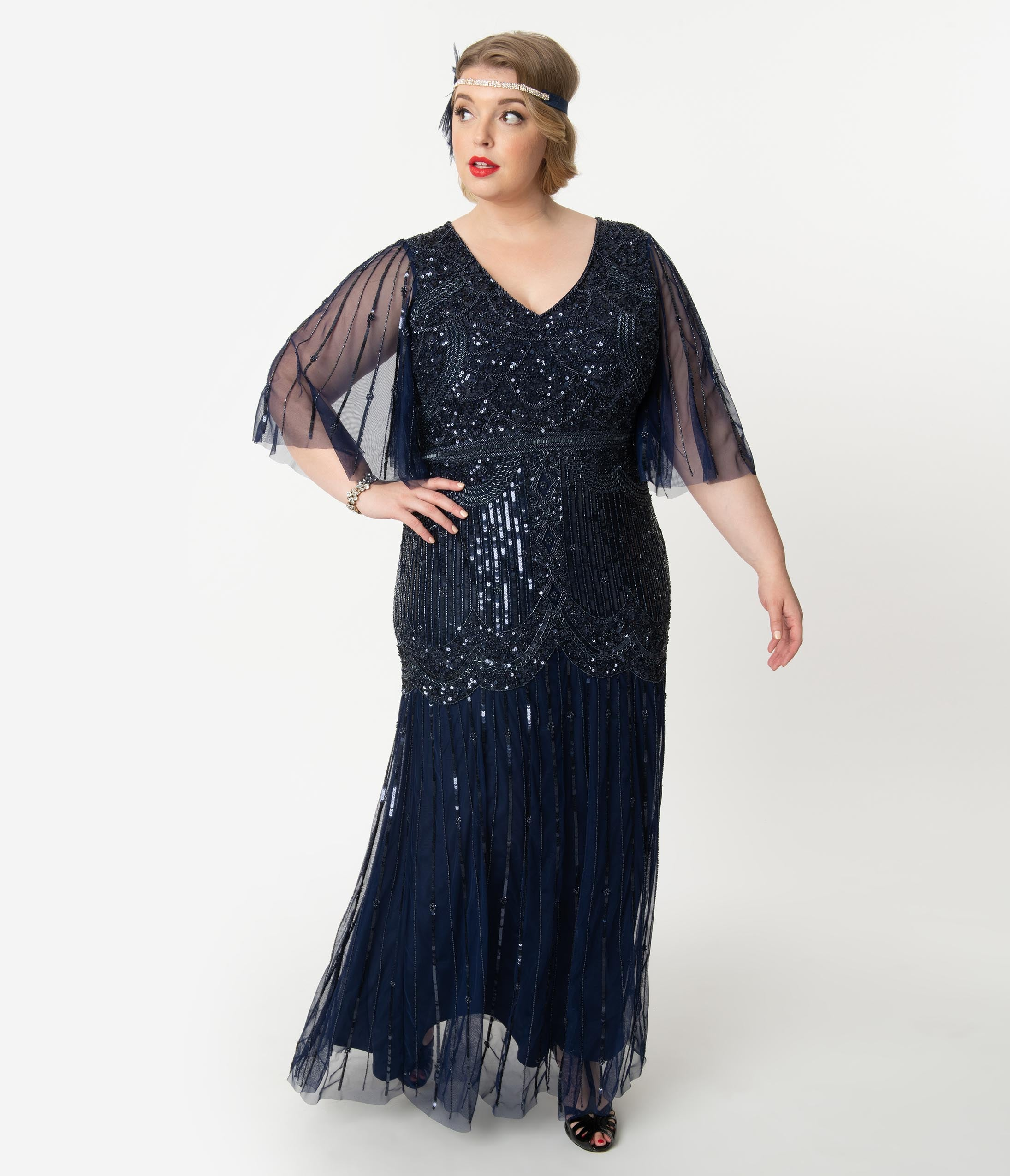 1920s Plus Size Flapper Dresses, Gatsby Dresses, Flapper Costumes Plus Size Navy Blue Sequin  Beaded Angel Sleeve Bettina Long Flapper Dress $268.00 AT vintagedancer.com