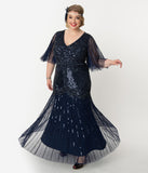 Plus Size Navy Blue Sequin & Beaded Angel Sleeve Bettina Long Flapper Dress
