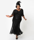Plus Size 1920s Style Black Beaded Sleeved Norma Flapper Gown