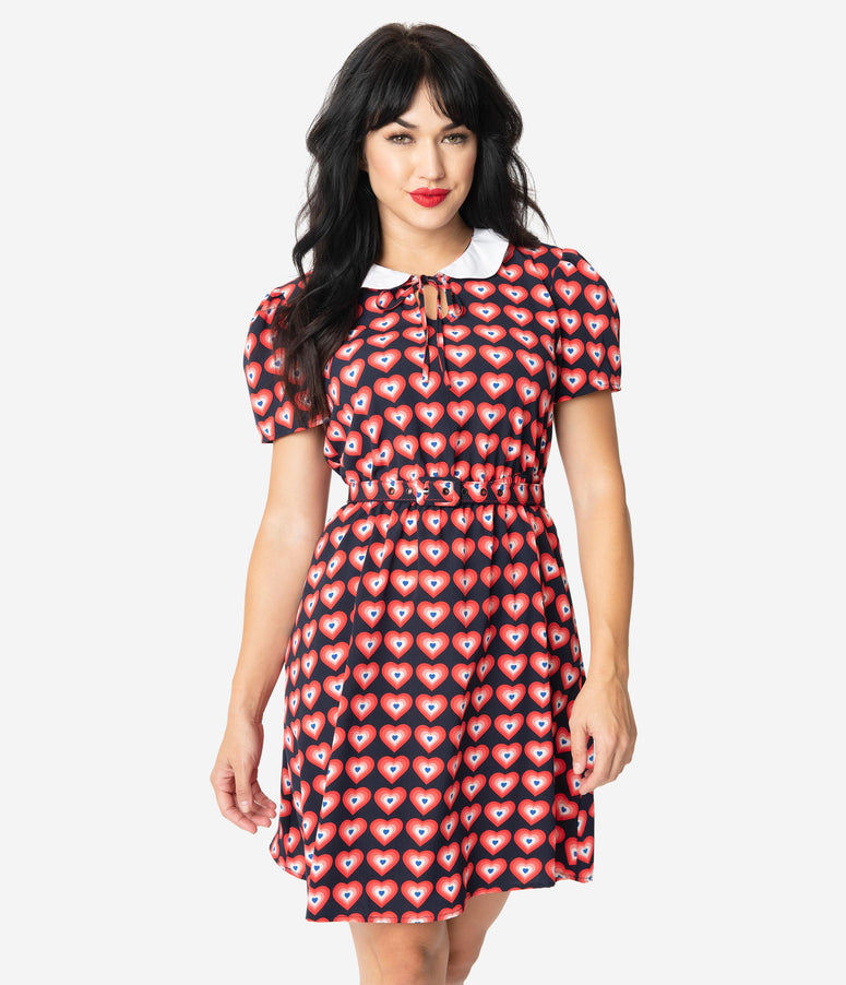 Unique Vintage Navy & Red Heart Print Collared Flare Dress