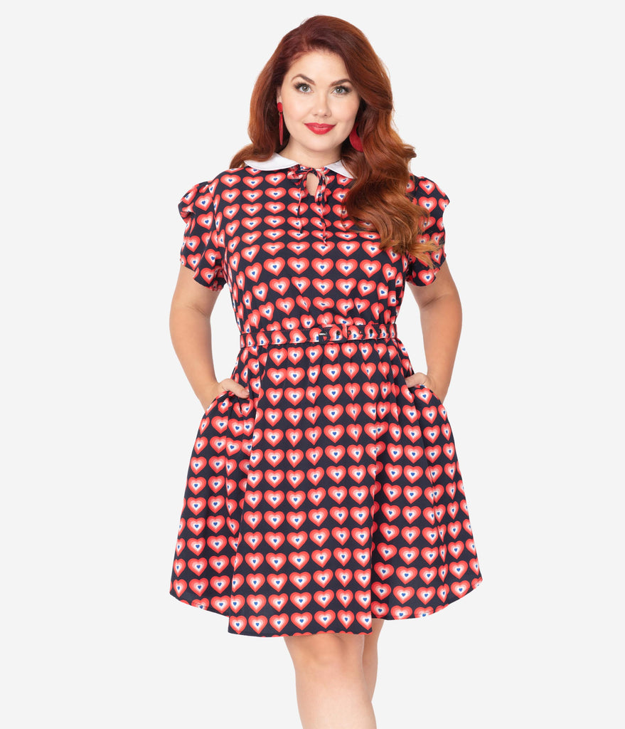 Unique Vintage Plus Size Navy & Red Heart Print Collared Flare Dress