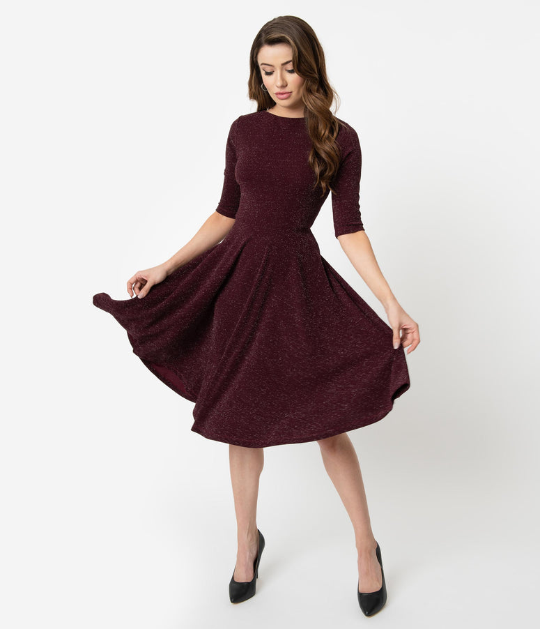 Unique Vintage 1950s Style Burgundy Sparkle Nicole Swing Dress