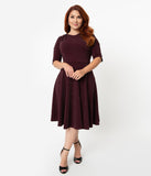Unique Vintage Plus Size 1950s Style Burgundy Sparkle Nicole Swing Dress