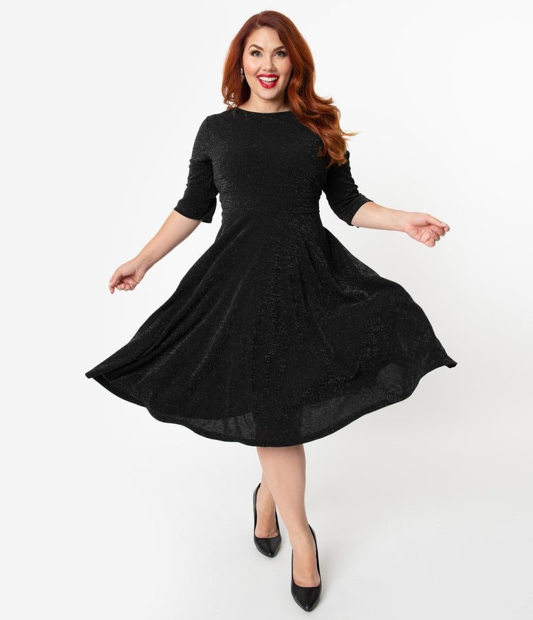 Unique Vintage Plus Size 1950s Style Black Sparkle Nicole Swing Dress