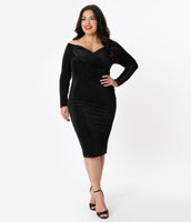 Tall Plus Size Portrait Neck Back Zipper Vintage Fitted Back Vent Pencil-Skirt Off the Shoulder Dress