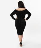 Unique Vintage Plus Size 1960s Black Velvet Cape Cod Wiggle Dress
