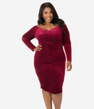 Unique Vintage Plus Size 1960s Burgundy Red Velvet Cape Cod Wiggle Dress