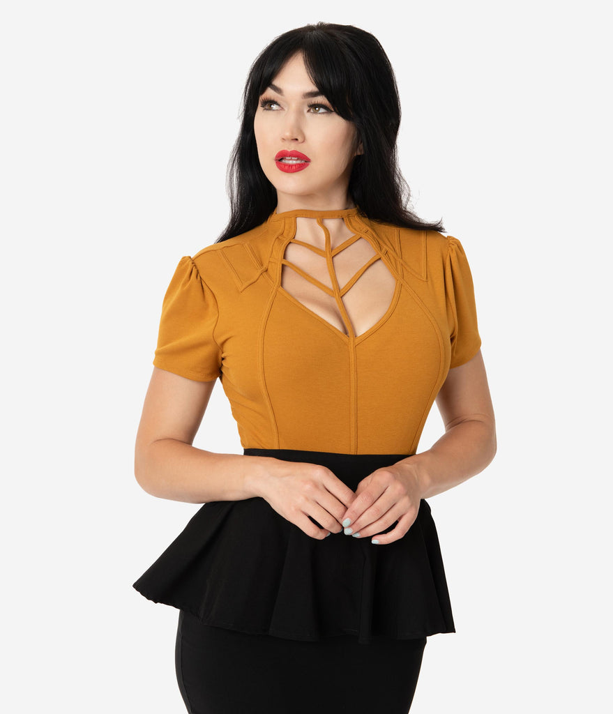 Unique Vintage Mustard Yellow Cage Knit Short Sleeve Lanie Top