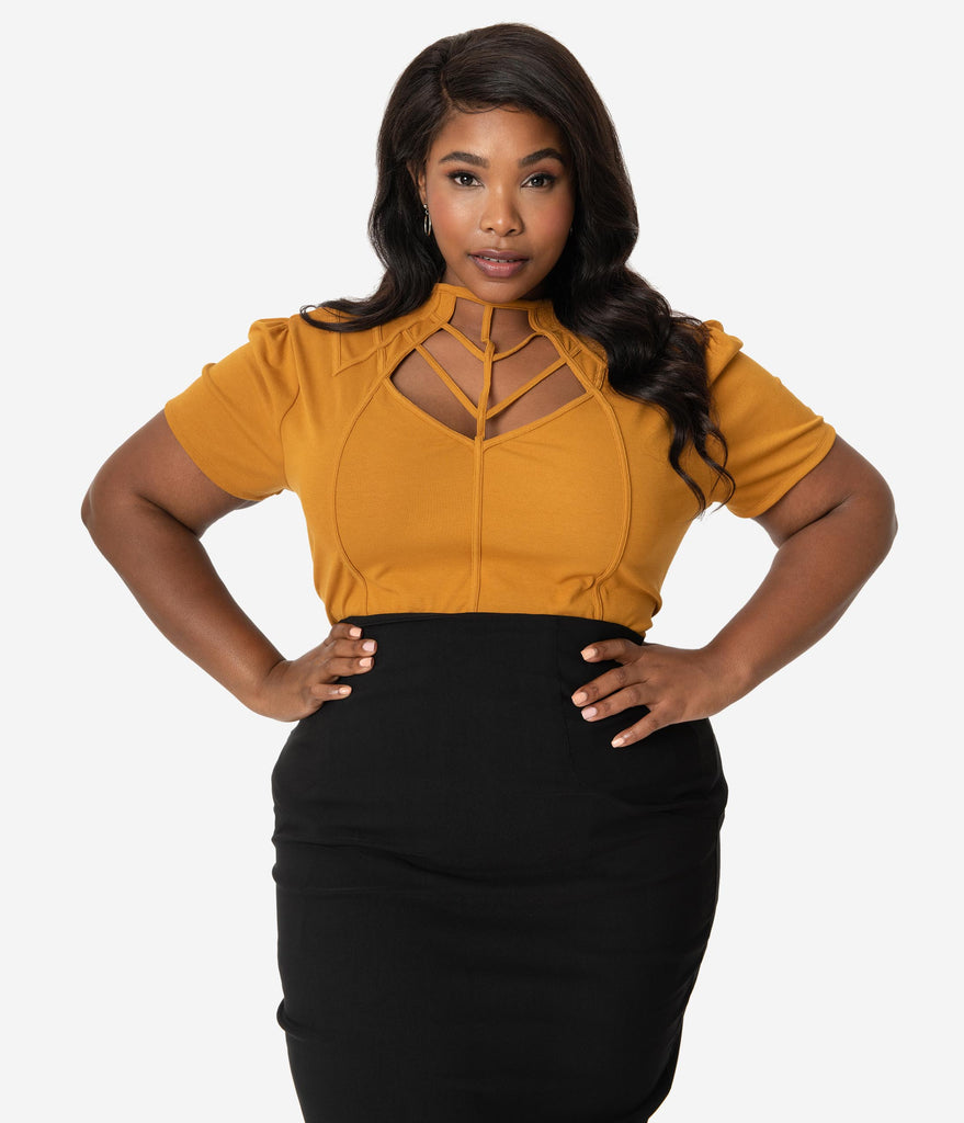 Unique Vintage Plus Size Mustard Yellow Cage Knit Short Sleeve Lanie Top