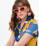 Vintage Style Neon Peach Sling Cat Eye Sunglasses