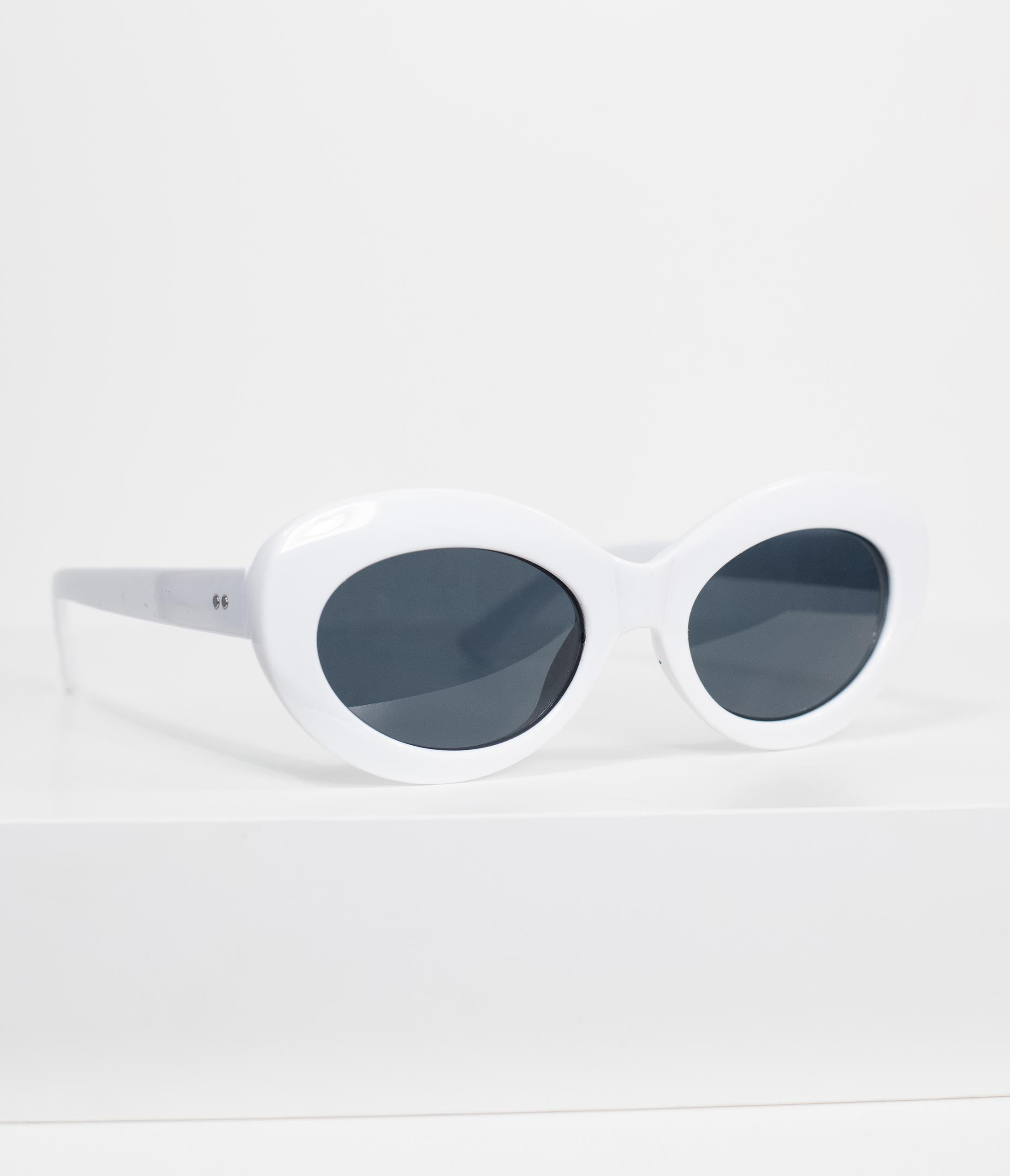 1960s Sunglasses | 70s Sunglasses, 70s Glasses Retro Style White Lava Rounded Cateye Sunglasses $22.00 AT vintagedancer.com