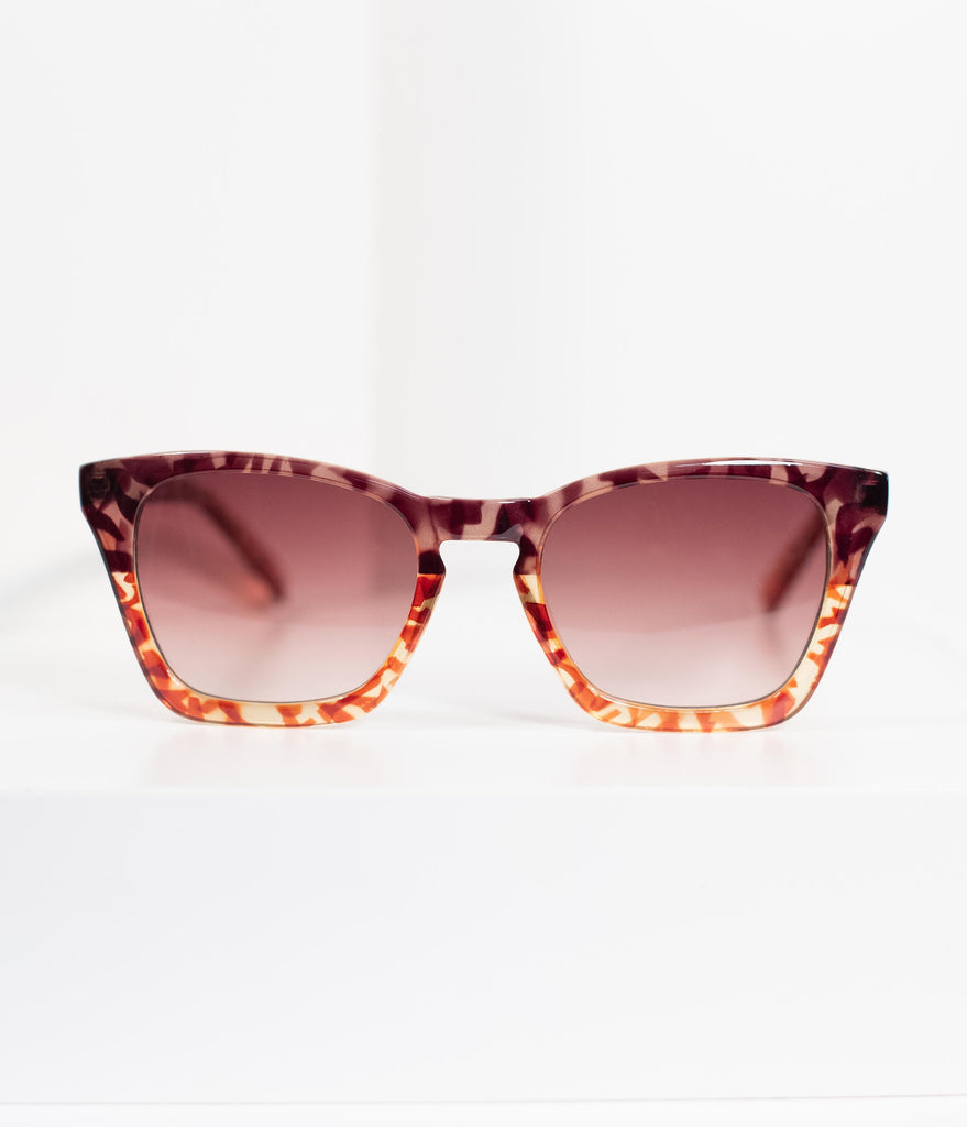 Retro Style Tortoise Shell Thelma Square Cat Eye Sunglasses