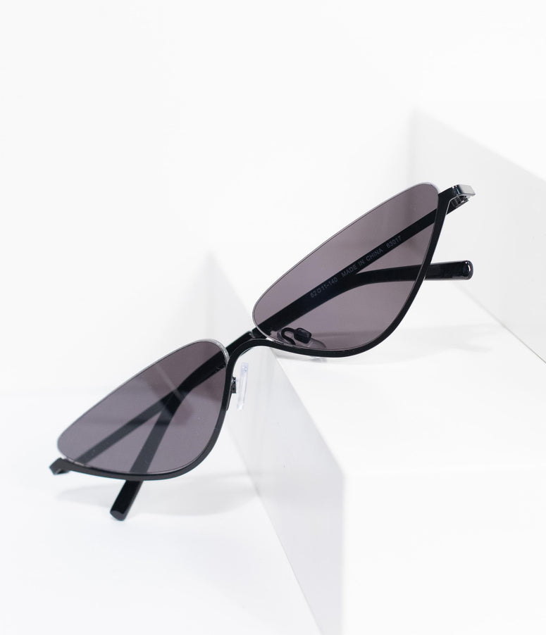 Black Half Frame Intrigue Skinny Cat Eye Sunglasses