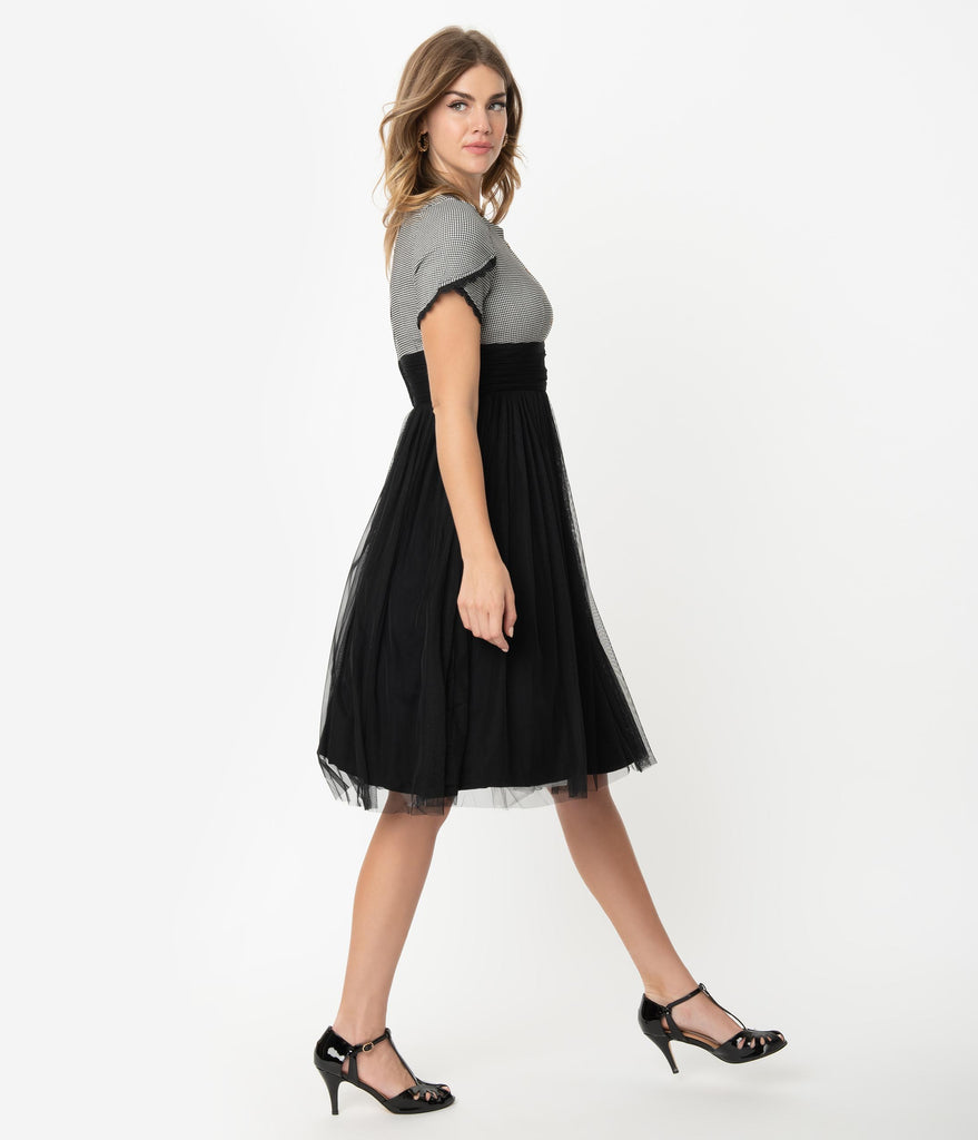 Retro Style Houndstooth & Black Mesh Short Sleeve Cocktail Dress
