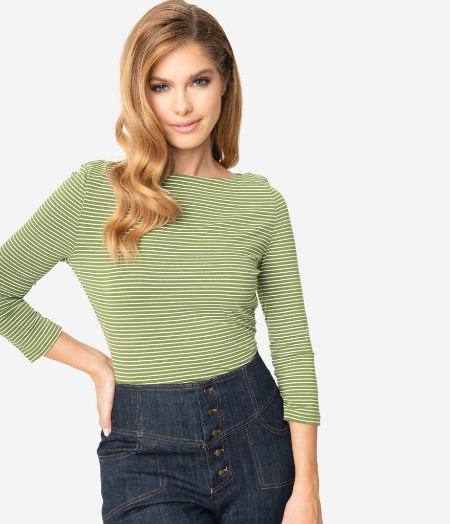 Green & White Striped Cotton Sleeved Top
