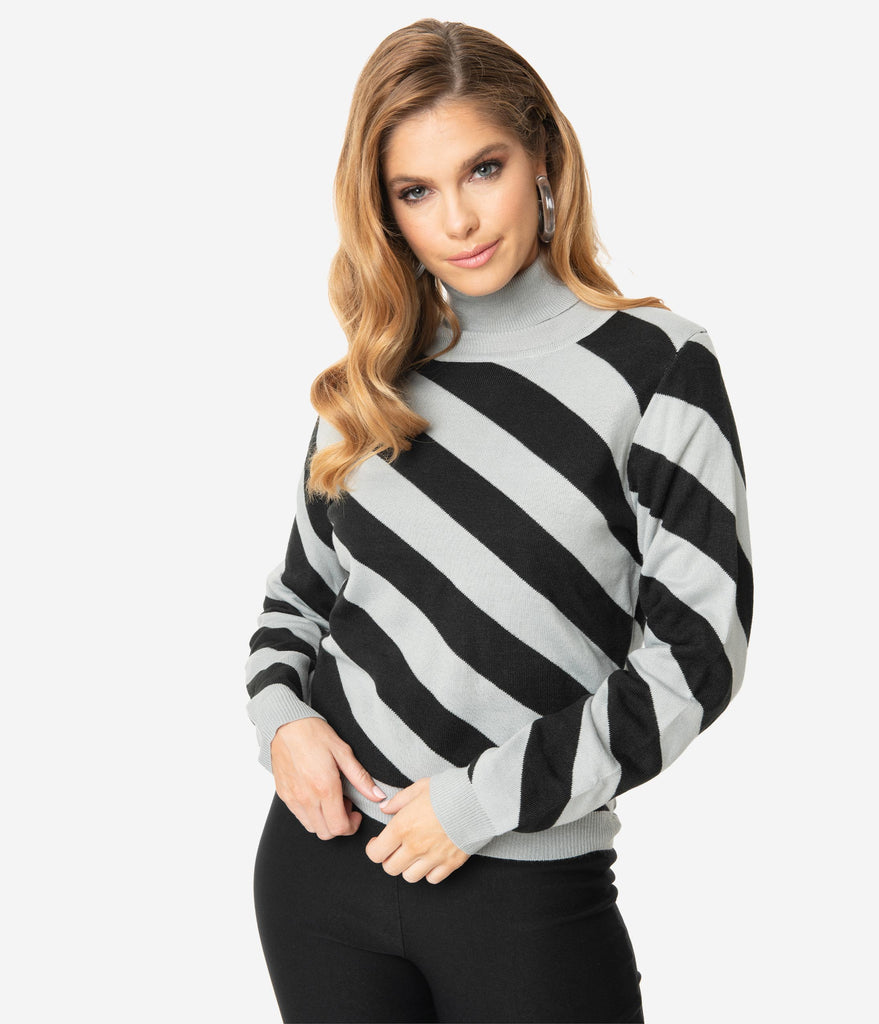 Retro Style Black & Silver Grey Asymmetrical Stripes Turtleneck Knit Sweater